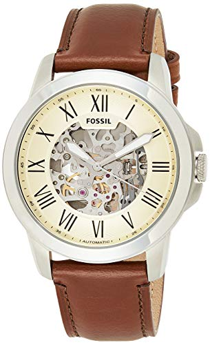 Fossil Men's Grant Auto Automatic Leather Three-Hand Watch, Color: Silver, Brown (Model: ME3099)