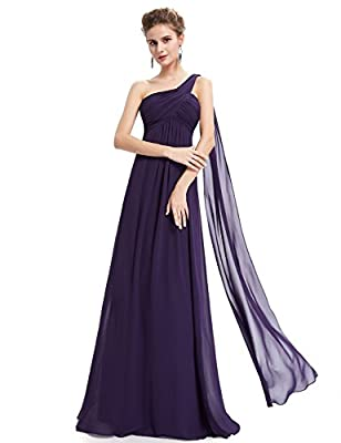 """Padded enough for """"no bra"""" option Fully lined formal dresses for women evening Unadjustable one shoulder with streamer decorated, ruffles design at the bust area Perfect for wedding party, military ball, ball gown, prom party, evening out, black-tie ..."""