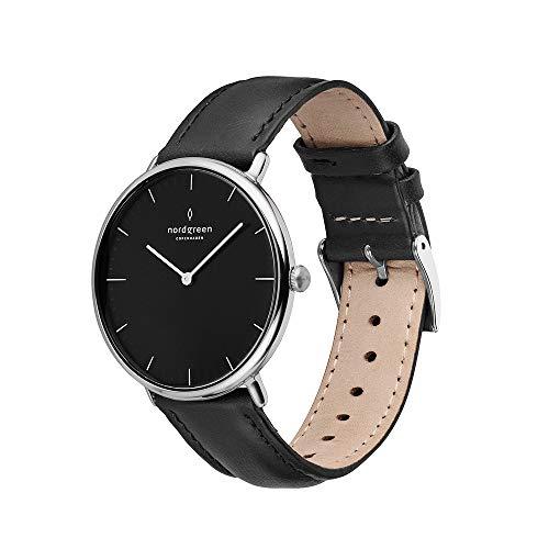 Nordgreen Native skandinavische Uhr in Silber mit schwarzem Ziffernblatt und austauschbarem 36mm Leder Armband Schwarz 16096