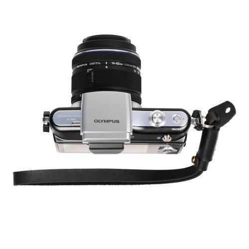 Foto&Tech Black Genuine Leather Adjustable Camera Hand Wrist Strap Compatible with Sony NEX Leica Canon Nikon Panasonic Fujifilm Olympus Pentax Samsung Mirrorless Compact Cameras