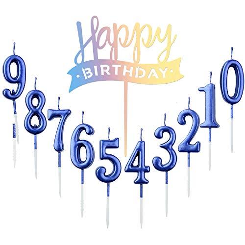 10 velas de cumpleaños número 0 – 9 con números para ta
