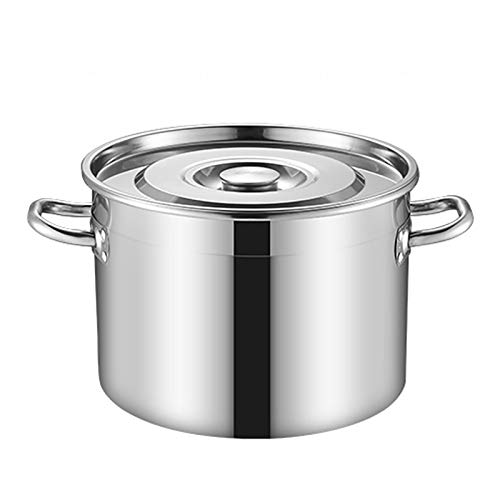 Pentole fumanti Pentola di riserva, Catering/Famiglia spesso 304 Pentola di zuppa in acciaio inox con coperchio, per fornello a gas/in induzione (13-80L) Recipiente di cottura (Size : 80L)