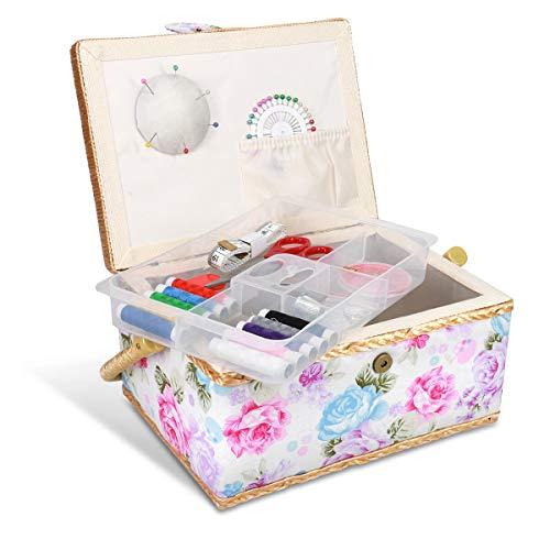 Navaris Costurero de Madera con 76 Accesorios - Caja de Costura Forrada en Tela de Rosas con 4 Compartimentos - Organizador con alfiletero Agujas Hilo