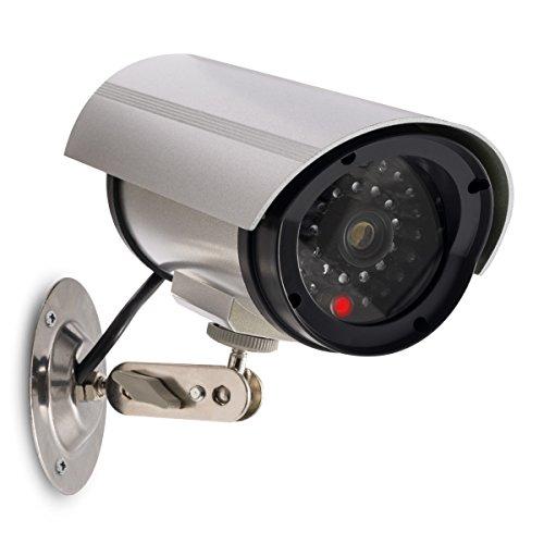 kwmobile Finta Telecamera di Sorveglianza - Videocamera Deterrente da Esterno con Luci LED rosse - Finta Telecamera di Videosorveglianza a Batteria