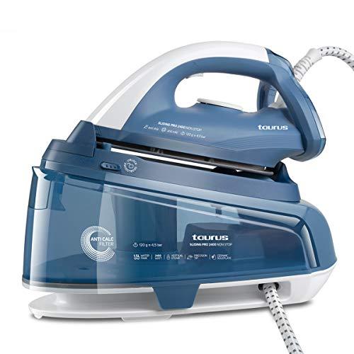 Taurus 918688000 Sliding Pro 2400-Dampfbügelstation ohne Ausschalten, entfernt 99,999% der Viren und Bakterien, 120 g/min, 1,5 l, Keramik