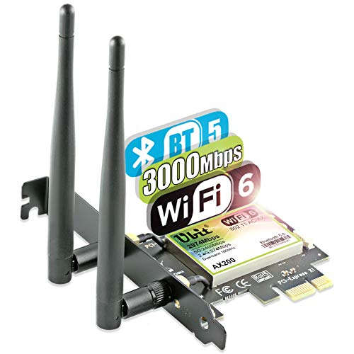 Ubit WiFi 6 Scheda di Rete 2974Mbp/s Adattatore Wireless PCI Express AX200 Bluetooth 5.0 | MU-Mimo |...