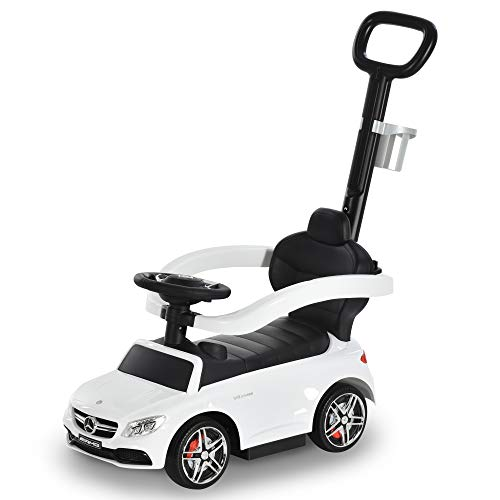 HOMCOM Compatible for Ride On Push Car w/ Storage Handle Steering Wheel Horn Footrest Cup Holder for Toddler Baby 12 - 36 Months White Mercedes-Benz AMG C63