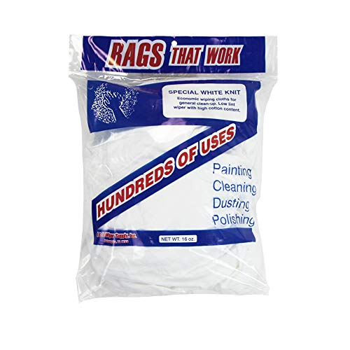 Arkwright White Knit Cleaning T-Shirt Rags (1 lbs. in a Bag)