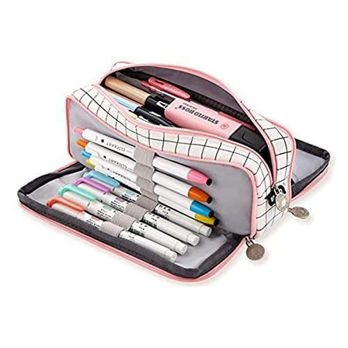 Astuccio per matite Astuccio per matite di grande capacit Adolescente per ragazzo Astuccio per matite Astuccio per penne Astuccio per cancelleria a 3 scomparti Astuccio per penne Per scuola(Rosa)