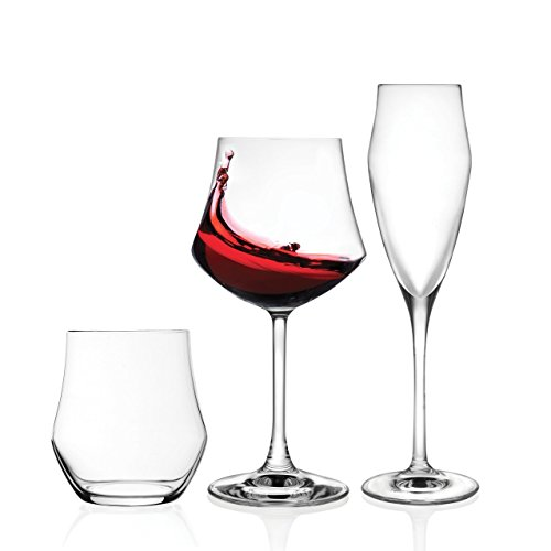RCR Pagano Home Ego Set Vetro, 12 Bicchieri, 12 Calice Vino 12 Calice Spumante, 36 Pezzi Made in Italy +