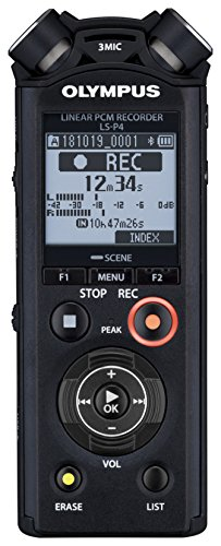 Olympus Linear PCM Recorder LS-P4, Slate Tone/Test Tone, Video Production Enhancer, TRESMIC, Bluetooth Connection,Black