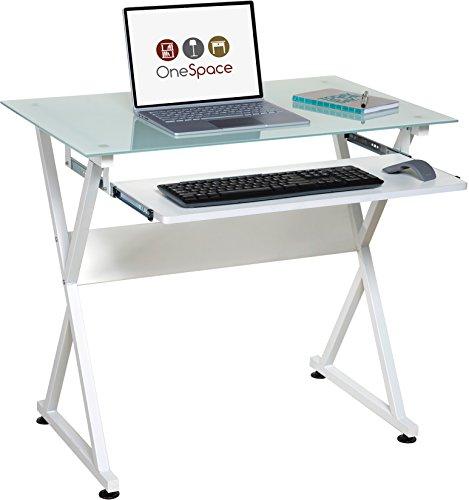 OneSpace Ultramodern Glass Computer Desk, White