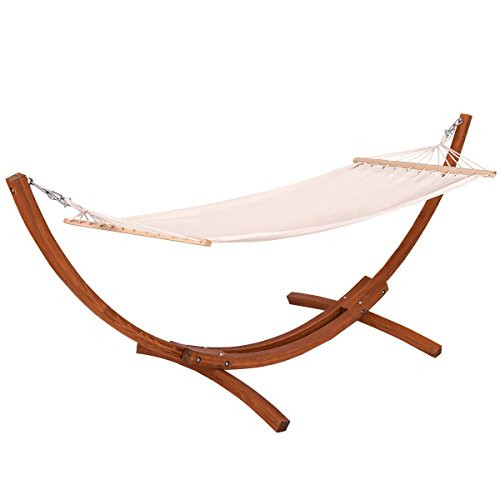 Giantex 10 Ft Wood Hammock Stand with Cotton Hammock, Arc Hammock Stand Chair Swing Set for Backyard Decor Bed Yard Patio Lawn Garden (123 X 46 X 48 Inches)