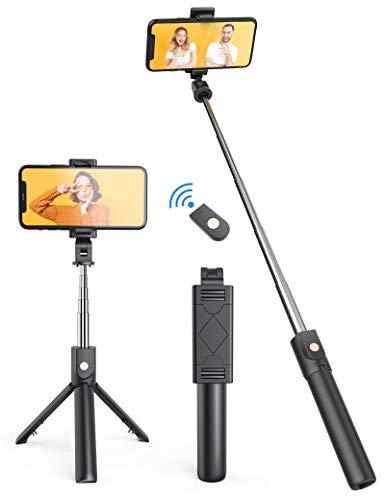 Jumkeet Perche Selfie Bluetooth, 3 en 1 Mini Trépied Smartphone Monopode...