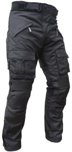 HEYBERRY Sportliche Motorrad Hose Motorradhose Schwarz mit Oberschenkeltaschen Gr. M