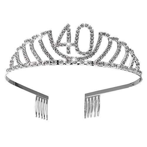 Frcolor Corona per Compleanno 40 Anni Cerchietto Diadema Principessa Donna Tiara Strass Cristallo con Pettine (Argento)