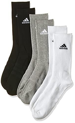 adidas Cush Crew 3Pp Calze Calzini, Multicolore (Black/Grey/White), L (Pacco da 3) Uomo