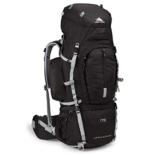 High Sierra Appalachian 75L Top Load Internal Frame Backpack; High-Performance Pack for Backpacking, Hiking, Camping, with Rain Fly, Black/Black/Silver