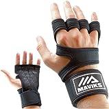 MAVIKS Gants noirs Crossfit Gant de musculation d'entraînement Gym Gant de gymnastique Poignées de fitness avec poignet anti-dérapant pour homme Femme - Grande taille