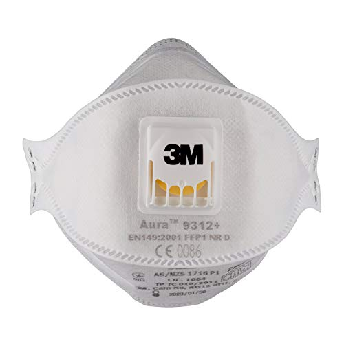 3M Aura Respiratore per Carteggiatura a Mano, per Lavori di Taglio o Perforazione,Bianco