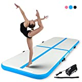 Murtisol 10ft Inflatable Gymnastics Training Mats Tumbling Mats 4 Inch Thickness for Home Use/Training/Cheerleading/Yoga/Water with Electric Pump Blue