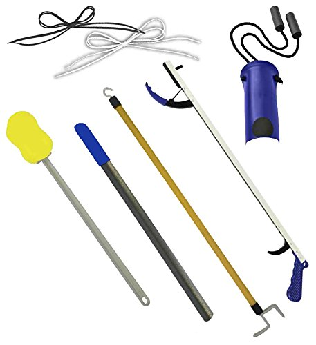 Deluxe Hip/Knee Replacement Kit 7 Piece Surgery Recovery Hip Kit Set with 26 inch Reacher