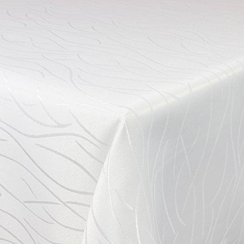 Tischdecke Damast Streifen 160x220cm eckig Weiss