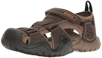 Crocs Men's Swiftwater Leather Fisherman Sandal, Espresso/Walnut, 10 M US