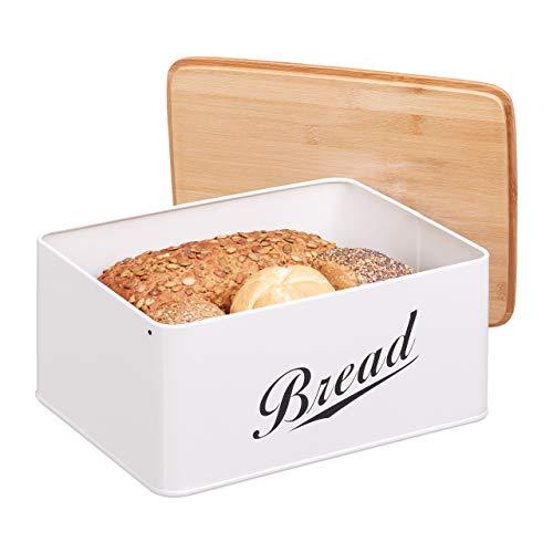 Relaxdays Brotkasten, Brotbox in Retro Design, Bambusdeckel, mit Aufschrift 'Bread', Metall, 14 x 30,5 x 23,5 cm, weiß 10024603