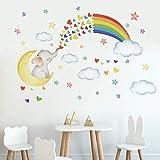 Runtoo Pegatinas de Pared Elefante Luna Stickers Adhesivos Vinilo Arco Iris Arte...
