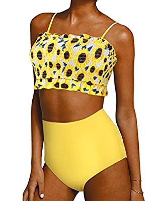 Smocked Off Shoulder Bikini Sets: Ruffle shirred bandeau swimsuits, Adjustable spaghetti straps, Removable padding bras; Frill Trim High Waist Swimsuits Bottom: Tummy Control, Modest coverage; Material: Polyester, Full lined, No see through, Soft and...