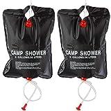 ACAMPTAR 2 x 20L Sac de Douche Camping Portable Solaire Chauffe Sac de...