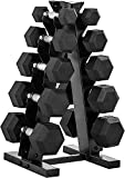 WF Athletic Supply Rubber Coated Hex Dumbbell Set Non-Slip Hex Shape for Muscle Toning, Strength Building, Weight Loss - Multiple Choices Available (c. 150LB Dumbbells Set with A Frame Storage Rack)