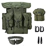 MT Military Rucksack Alice Pack,Army Survival Combat Field Backpack with Frame and Alice Butt Pack,Tactical Belt Olive Drab