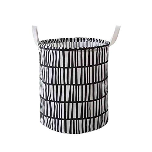 Louyue Round Canvas Toy Storage Bins Basket with Handle Collapsible Toy Organizer for Nursery Storage, Kid's Toy & Laundry, Gift Baskets (60 x 45 x 45cm)