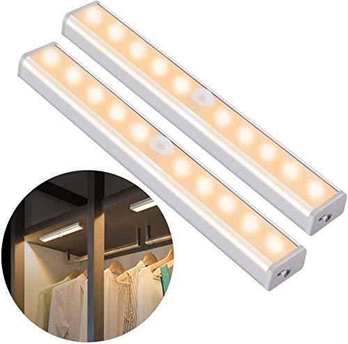 OUSFOT Luci Armadio Guardaroba con Sensore di Movimento, Luce per Armadio con Sensore USB...