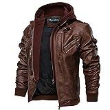 Hommes À Capuche PU Cuir Veste aviateur Moto Blousons avec Amovible Capuche Men Leather Hooded Jacket (Brown,XX-Large)