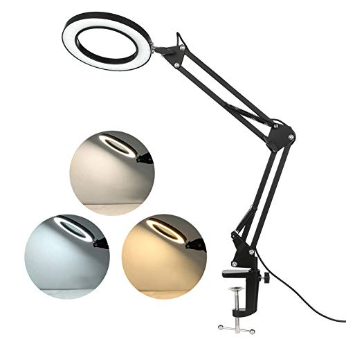 Tom-shine LED Desk Lamp, Eye-Care 12W Architect Lamp with Clamp, 3 Colors 10 Brightness Dimmable Swing Arm Desk Lamp Drafting Table Lamp, Clip on Lamp, Desk Light for Reading, Crafts, Home, Office