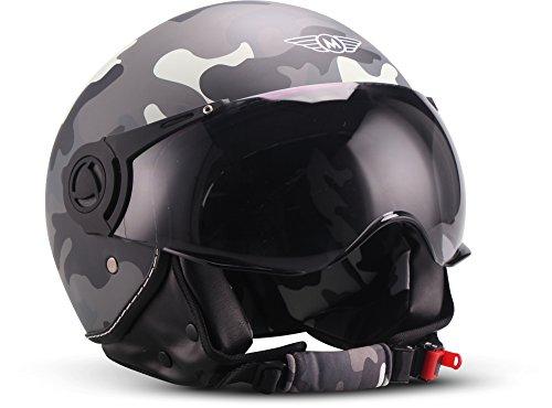 "Moto Helmets® H44 ""Matt Black"" · Jet-Helm · Motorrad-Helm Roller-Helm Scooter-Helm Bobber Mofa-Helm Chopper Retro Cruiser Vintage Pilot Biker Helmet · ECE Visier Schnellverschluss Tasche L (59-60cm)"