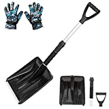 BREWIN TOOLS Collapsible Snow Shovel for Car Trunk,Portable Emergency Vehicle Shovel with Aluminum Extendable Handle and Foam Grip,Detachable Lightweight Auto Snow Removal Shovel for Camping Outdoors