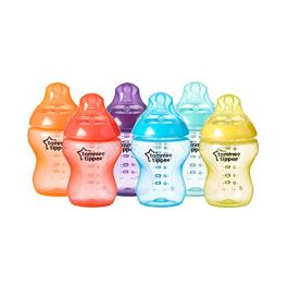 Tommee Tippee Closer to Nature Fiesta Fun Time Baby Feeding Bottles, Anti-Colic Valve, Breast-Like Nipple for Natural Latch, Slow Flow, BPA-Free – 9 Ounces, Multi-Colored, 9 Pack