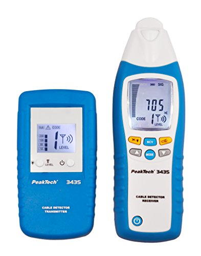 PeakTech 3435 – Leitungssuchgerät mit Sender & Empfänger für Kurzschlüsse, Sicherungen, metallische Rohranlagen, Spannungsmesser, Leitungsfinder in Wänden, Decken, Böden - Empfangstiefe: bis 2 Meter