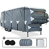 KING BIRD Upgraded 5th Wheel RV Cover, Extra-Thick 5 Layers Anti-UV Top Panel, Durable Camper Cover, Fits 33'-37' Motorhome -Breathable, Water-Proof, Rip-Stop with 2Pcs Extra Straps & 4 Tire Covers