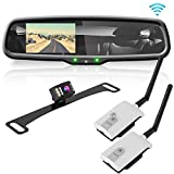 """Wireless Backup Rear View Camera - Waterproof License Plate Car Parking Rearview Reverse Safety/Vehicle Monitor System w/ 4.3"""" Mirror Video LCD, Distance Scale Lines, Night Vision - Pyle PLCM4590WIR"""