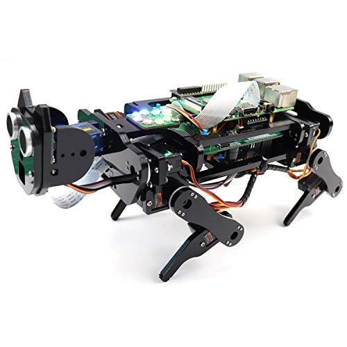 Freenove Robot Chien Kit pour Raspberry Pi 4 B 3 B + B A +, Marche, Auto-Équilibrage, Traçage de Balle, Reconnaissance Faciale, Vidéo en Direct, Télémétrie par Ultrasons, Servo de Caméra sans Fil Rc