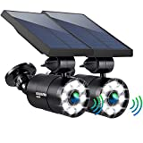Solar Motion Sensor Lights Outdoor 1400-Lumens 9-Watt(110W Equ.) Aluminum Auto On/Off and Dim to Bright Outdoor Flood Security Spotlight for Patio Garden Driveway, 3-Year 100% FREE Replaceme Guarantee