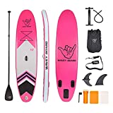WAVEY BOARD Inflatable 10' Stand Up Paddle Board for Adult Premium SUP Blow up Paddle Board for Youth Kids (6' Thick) with ISUP Accessories Backpack Bag, Pump, Adjustable Paddle, Pink