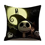 Final Friday Disney Cute Skull Halloween Nightmare Before Christmas Decorative Lined Linen Square Throw Pillow Cases Protectors Cushion Covers for Couch and Sofa Home Decor 18x18 inches 45 cm