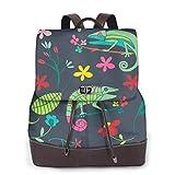 Yuanmeiju Womens Rucksack Backpack Watercolor Wild Flowers Floral Shoulder Schoolbag Leather Casual Bag Ladies
