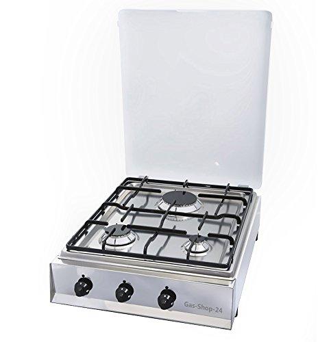 3 flammiger Edelstahl Propan Gaskocher mit Gusstopfträger und Guss-Brennerdeckel emailliert (Hockekocher, Kocher, Gastrokocher, Gasherd, Parker, Campingkocher)